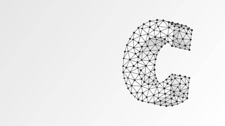 Alphabet letter C. Abstract digital wireframe, low poly mesh, vector white origami 3d illustration.