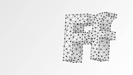 Alphabet letter F. Abstract digital wireframe, low poly mesh, vector white origami 3d illustration. Design of an Uppercase and lowercase letters. Banner, template or a pattern. Triangle, line, dot Çizim
