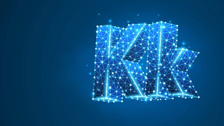 Alphabet letter K. Design of an Uppercase and lowercase letters. Banner, template or a pattern. Abstract digital wireframe, low poly mesh, vector blue neon 3d illustration. Triangle, line, dot Çizim