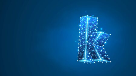 Alphabet letter K. Design of a lowercase letter. Banner, template or a pattern. Abstract digital wireframe, low poly mesh, vector blue neon 3d illustration. Triangle, line, dot