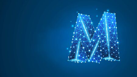 Alphabet letter M. Design of an Uppercase letter. Metro M sign. Banner, template or a pattern. Abstract digital wireframe, low poly mesh, vector blue neon 3d illustration. Triangle, line, dot Çizim