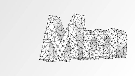 Alphabet letter M. Abstract digital wireframe, low poly mesh, vector white origami 3d illustration. Design of an Uppercase and lowercase letters. Metro M sign. Template, pattern. Triangle, line, dot Çizim