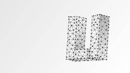 Alphabet letter L. Abstract digital wireframe, low poly mesh, vector white origami 3d illustration. Design of an Uppercase and lowercase letters. Banner, template or a pattern. Triangle, line, dot