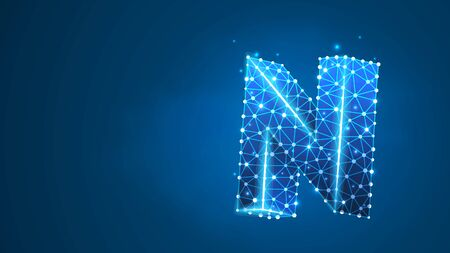 Alphabet letter N. Design of an Uppercase letter. Banner, template or a pattern. Abstract digital wireframe, low poly mesh, vector blue neon 3d illustration. Triangle, line, dot