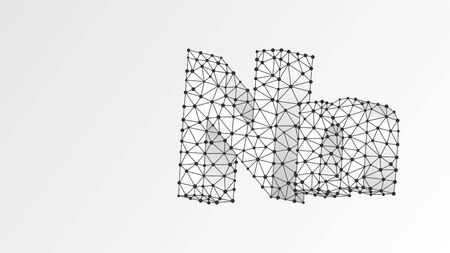 Alphabet letter N. Abstract digital wireframe, low poly mesh, vector white origami 3d illustration. Design of an Uppercase and lowercase letters. Banner, template or a pattern. Triangle, line, dot
