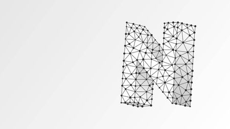 Alphabet letter N. Abstract digital wireframe, low poly mesh, vector white origami 3d illustration. Design of an Uppercase letter. Banner, template or a pattern. Triangle, line, dot