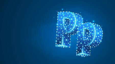 Alphabet letter P. Design of an Uppercase and lowercase letters. Banner, template or a pattern. Abstract digital wireframe, low poly mesh, vector blue neon 3d illustration. Triangle, line, dot