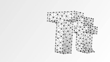 Alphabet letter T. Abstract digital wireframe, low poly mesh, vector white origami 3d illustration. Design of an Uppercase and lowercase english letters. Banner, template or a pattern. Line, dot Çizim