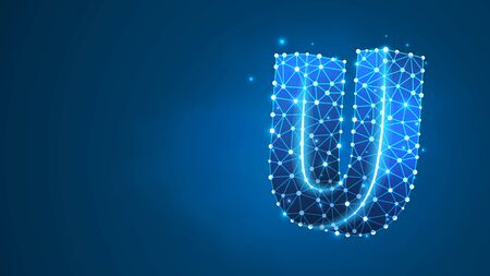 Alphabet letter U. Design of an Uppercase english letter. Banner, template or a pattern. Abstract digital wireframe, low poly mesh, vector blue neon 3d illustration. Triangle, line dot Çizim