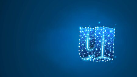 Alphabet letter U. Design of a lowercase english letter. Banner, template or a pattern. Abstract digital wireframe, low poly mesh, vector blue neon 3d illustration. Triangle, line dot
