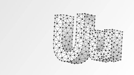 Alphabet letter U. Abstract digital wireframe, low poly mesh, vector white origami 3d illustration. Design of an Uppercase and lowercase english letters. Banner, template or a pattern. Line dot Çizim