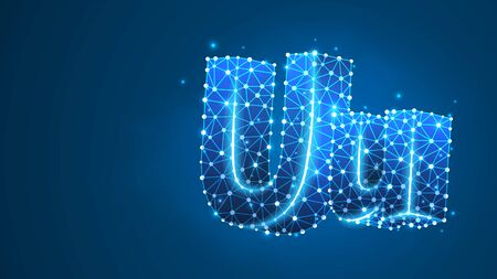 Alphabet letter U. Design of an Uppercase and lowercase english letters. Banner, template or a pattern. Abstract digital wireframe, low poly mesh, vector blue neon 3d illustration. Triangle, line dot