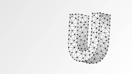 Alphabet letter U. Abstract digital wireframe, low poly mesh, vector white origami 3d illustration. Design of an Uppercase english letter. Banner, template or a pattern. Line dot