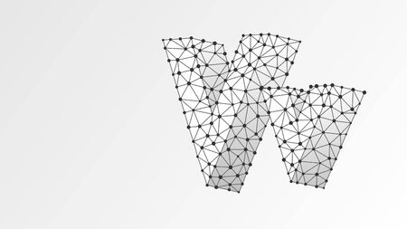 Alphabet letter V. Abstract digital wireframe, low poly mesh, vector white origami 3d illustration. Design of an Uppercase and lowercase english letters. Banner, template or a pattern. Line dot