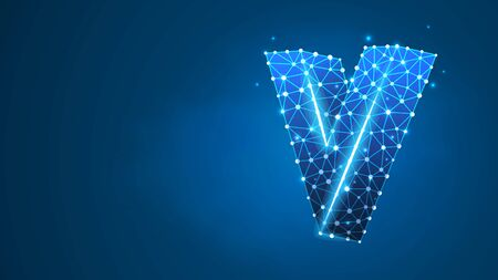 Alphabet letter V. Design of an Uppercase english letter. Banner, template or a pattern. Abstract digital wireframe, low poly mesh, vector blue neon 3d illustration. Triangle, line dot Çizim
