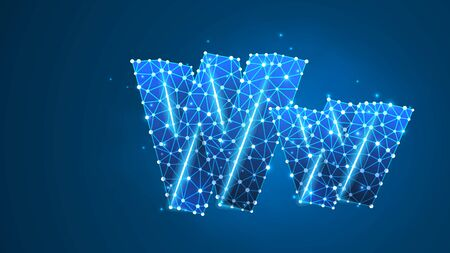 Alphabet letter W. Design of an Uppercase and lowercase english letters. Banner, template or a pattern. Abstract digital wireframe, low poly mesh, vector blue neon 3d illustration. Triangle, line dot Çizim