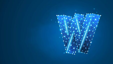 Alphabet letter W. Design of an Uppercase english letter. Banner, template or a pattern. Abstract digital wireframe, low poly mesh, vector blue neon 3d illustration. Triangle, line dot Çizim