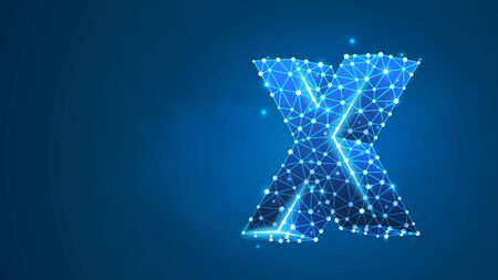 Alphabet letter X. Design of an Uppercase english letter. Banner, template or a pattern. Abstract digital wireframe, low poly mesh, vector blue neon 3d illustration. Triangle, line, dot