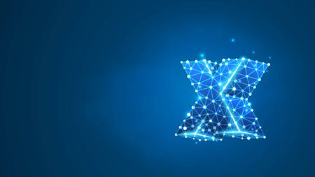 Alphabet letter X. Design of a lowercase english letter. Banner, template or a pattern. Abstract digital wireframe, low poly mesh, vector blue neon 3d illustration. Triangle, line, dot