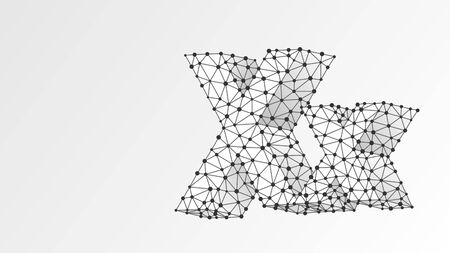 Alphabet letter X. Abstract digital wireframe, low poly mesh, vector white origami 3d illustration. Design of an Uppercase and lowercase english letters. Banner, template or a pattern. Line, dot Çizim