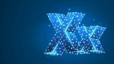 Alphabet letter X. Design of an Uppercase and lowercase english letters. Banner, template or a pattern. Abstract digital wireframe, low poly mesh, vector blue neon 3d illustration. Triangle, line, dot Çizim