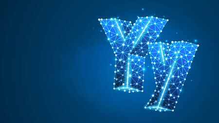 Alphabet letter Y. Design of an Uppercase and lowercase english letters. Banner, template or a pattern. Abstract digital wireframe, low poly mesh, vector blue neon 3d illustration. Triangle, line, dot