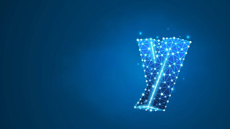 Alphabet letter Y. Design of a lowercase english letter. Banner, template or a pattern. Abstract digital wireframe, low poly mesh, vector blue neon 3d illustration. Triangle, line, dot