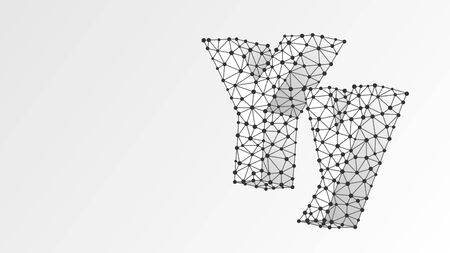 Alphabet letter Y. Abstract digital wireframe, low poly mesh, vector white origami 3d illustration. Design of an Uppercase and lowercase english letters. Banner, template or a pattern. Line, dot