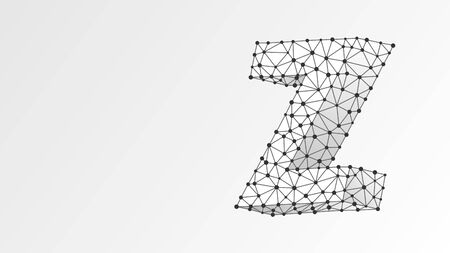 Alphabet letter Z. Abstract digital wireframe, low poly mesh, vector white origami neon 3d illustration. Design of an Uppercase english letter. Banner, template or a pattern. Triangle, line, dot