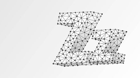 Alphabet letter Z. Abstract digital wireframe, low poly mesh, vector white origami 3d illustration. Design of an Uppercase and lowercase english letters. Banner, template or a pattern. Line, dot