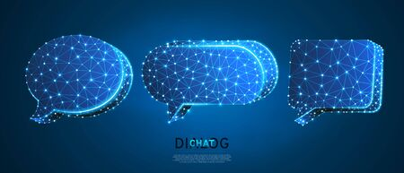 Dialogue, Chat clouds set. Wireframe, digital 3d vector illustration. Low poly technology, devices, people communication concept on blue neon background. Abstract polygonal Social Network symbol