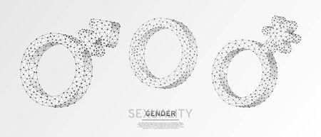 Asexualidad o intersexualidad, transgénero, conjunto de símbolos Genderqueer. Estructura metálica, ilustración vectorial digital 3d. Concepto de hombres y mujeres de baja poli sobre fondo blanco de origami. Signo de Lgbt de neón poligonal abstracto