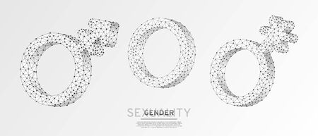 Asexuality or Intersex, Transgender, Genderqueer symbol set. Wireframe, digital 3d vector illustration. Low poly men and women concept on white origami background. Abstract polygonal neon LGBT sign