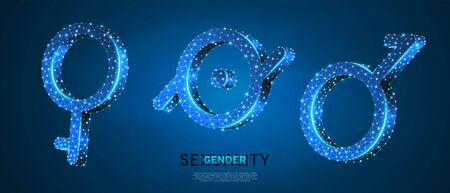 Demigirl, Demiboy, Epicene symbols set. Wireframe 3d vector illustration. Low poly, non-binary, hermaphrodite, bisexual people rights concept on blue neon background. Abstract polygonal LGBT sign Çizim