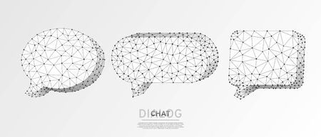 Dialogue, Chat clouds set. Wireframe digital 3d vector illustration. Low poly technology, devices, people communication concept on white origami background. Abstract polygonal Social Network symbol