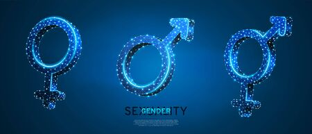 Male and female gender symbol set. Wireframe digital 3d vector illustration. Low poly, men and women hetero-sexuality concept on blue neon background. Abstract polygonal LGBT sign Çizim