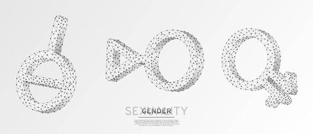 Asexual, Intergender, Third gender symbol set. Individual identity, people rights concept on white origami background. Low poly, wireframe digital 3d vector illustration. Abstract polygonal LGBT sign