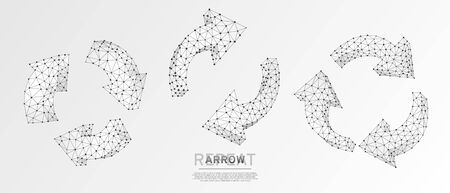 Refresh circular arrows symbol set. Repeat, refresh button concept on white origami background. Low poly, wireframe digital 3d vector illustration. Abstract polygonal sign