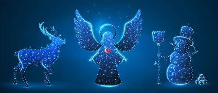 Christmas Angel, Deer, Reindeer, Snowman with a broom. Wintertime, snow days, winter holidays concept on blue neon background. Low poly, abstract, polygonal, wireframe, digital, 3d vector illustration
