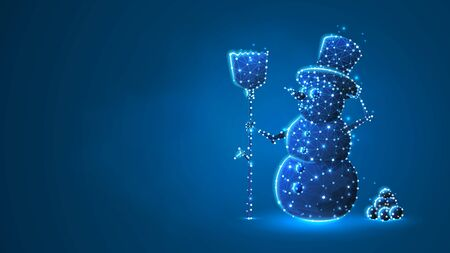 Snowman with a broom silhouette. Low poly, wireframe digital 3d vector illustration. Wintertime, snow days, winter fun concept on blue neon background. Abstract polygonal image