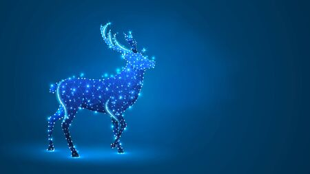 Deer, Reindeer silhouette. Low poly, wireframe digital 3d vector illustration. Christmas, New Year greeting card concept on blue neon background. Abstract polygonal image