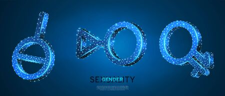 Asexual, Intergender, Third gender symbol set. Low poly, wireframe digital 3d vector illustration. Individual identity, people rights concept on blue neon background. Abstract polygonal LGBT sign Ilustração