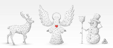 Christmas Angel, Deer, Reindeer, Snowman with a broom. Wintertime, snow days, winter holidays concept on white origami background. Low poly, abstract, polygonal, wireframe, 3d vector illustration
