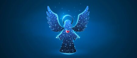 Christmas Angel with red heart holding stars. Low poly, wireframe digital 3d vector illustration. Holiday eve, baby angel concept on blue neon background. Abstract polygonal image