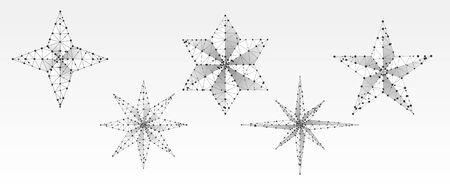 Satz volumetrische Sterne. Vier, fünf, sechs und acht Strahlensterne. Stern im Himmelkonzept auf weißem Origamihintergrund. Low-Poly, abstrakt, polygonal, Drahtmodell 3D-Vektor-Illustration