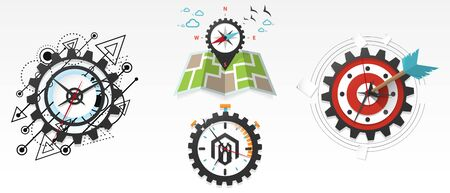 Clock abstract futuristic design. Time gear. Map and compass, Market clock with an arrow, marketing target concept. Stopwatch, time management, productivity, efficiency vector illustration set