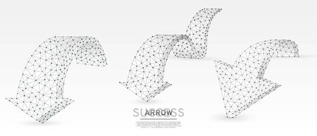 Arrows down, set of challenge signs. Downtrend, destination or goal, business partnership concept on white origami background. Low poly, abstract, polygonal, wireframe 3d vector illustration
