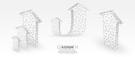 Arrows up, success, set of teamwork signs. Growth trend, cooperation or business partnership concept on white origami background. Low poly, abstract, polygonal, wireframe 3d vector illustration