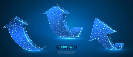 Arrows up, success, set of teamwork signs. Growth trend, cooperation or business partnership concept on blue neon background. Low poly, abstract, polygonal, wireframe 3d vector illustration