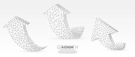 Arrows up, success, set of teamwork signs. Growth trend, cooperation, business partnership concept on blue neon background. Low poly, abstract, polygonal, wireframe 3d vector illustration